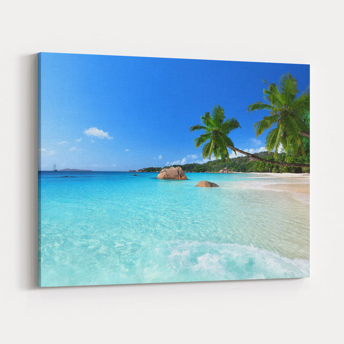 Anse Lazio Beach At Praslin Island, Seychelles Canvas Wall Art Print