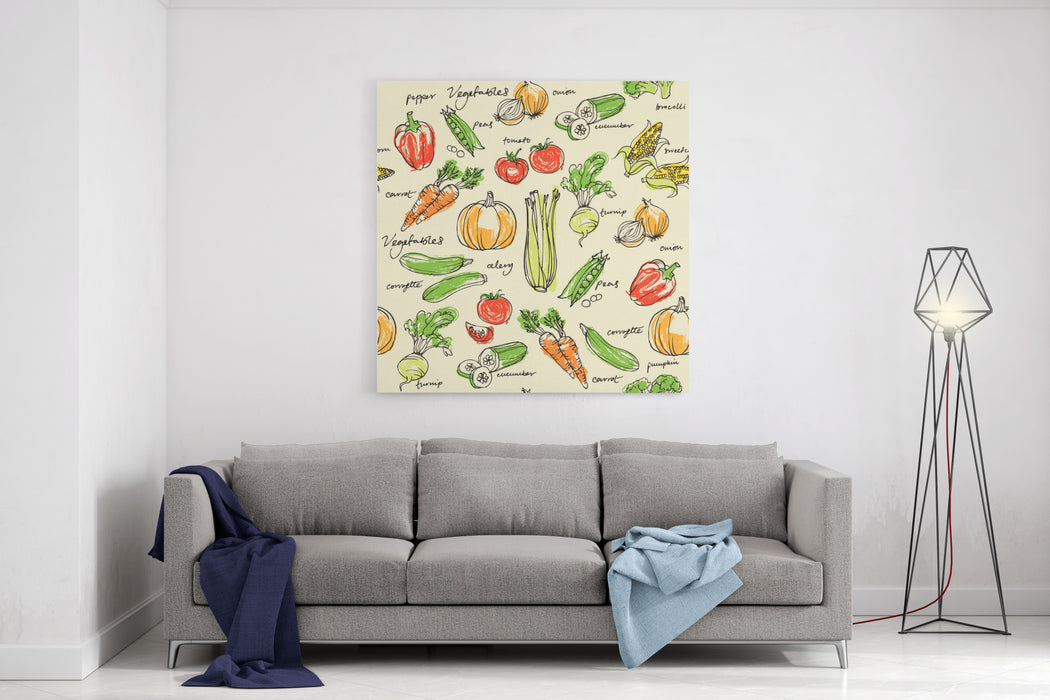 Assorted Vegetables Seamless Pattern Canvas Wall Art Print