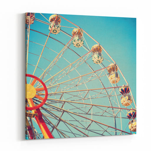 Vintage Retro Ferris Wheel On Blue Sky Canvas Wall Art Print