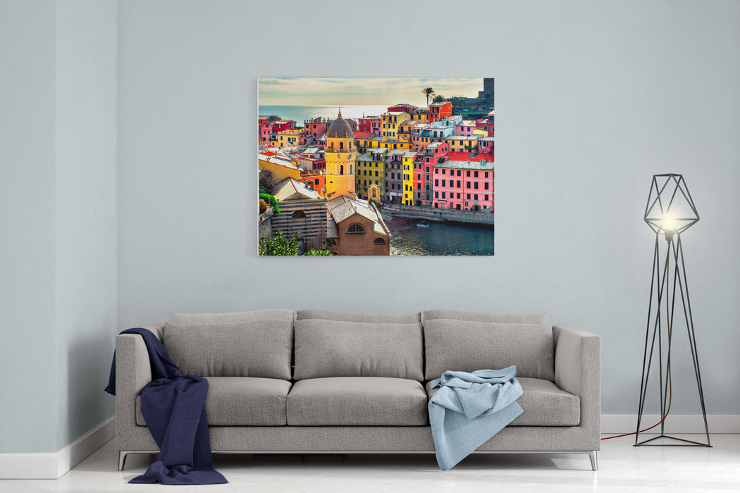 View Of Vernazza Vernazza Is A Town And Comune Located In The Province Of La Spezia, Liguria, Northwestern Italy Canvas Wall Art Print