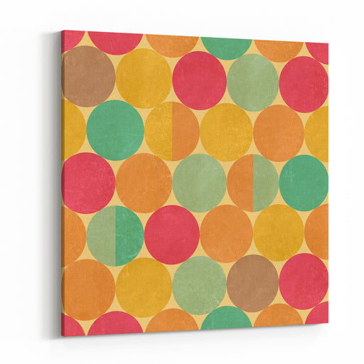 Retro Geometric Seamless Pattern With Seamless Texture Canvas Wall Art Print