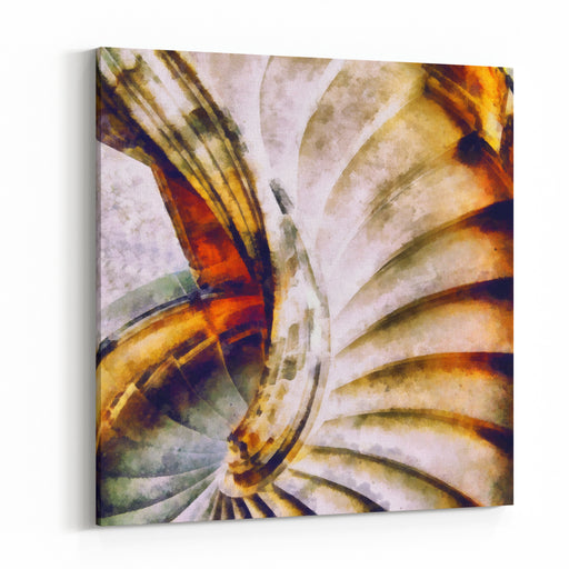 Digital Structure Of Painting Spiral Staircase Canvas Wall Art Print