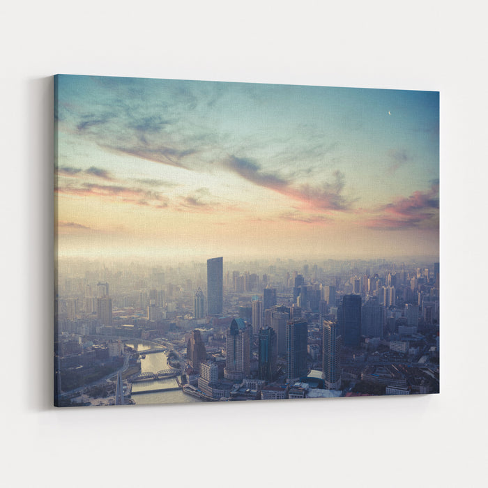 A Birds Eye View Of Shanghai At Dusk Canvas Wall Art Print