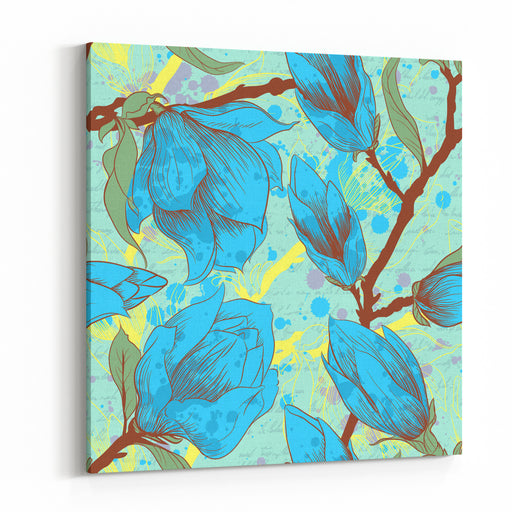 Vintage Seamless Pattern With Magnolia Flowers Canvas Wall Art Print