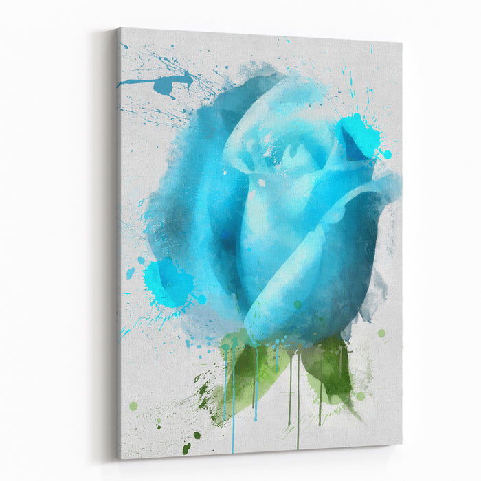 The Blue Rose, Watercolor Canvas Wall Art Print