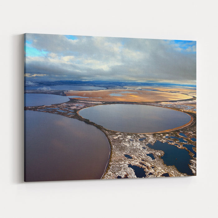 Aerial View Of The Some Round Lakes On Marshy Terrain In The Cold Autumn Day The Two Lakes Were Overgrown Marsh Grass Canvas Wall Art Print