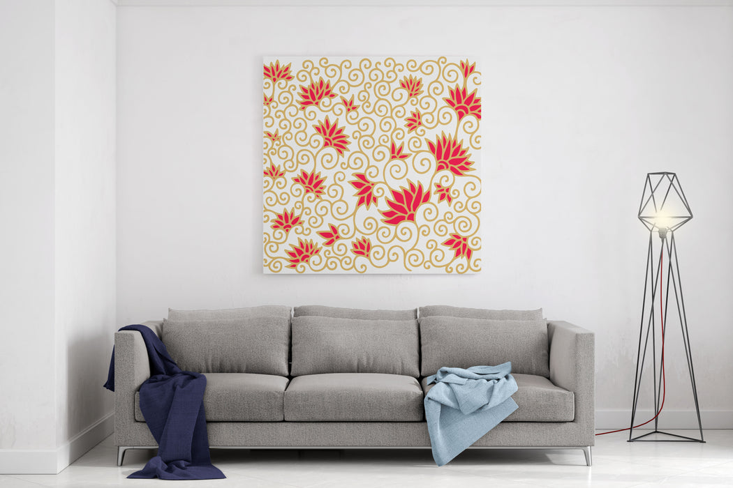 Decorative Floral Composition With Pomegranate Flowers Canvas Wall Art Print