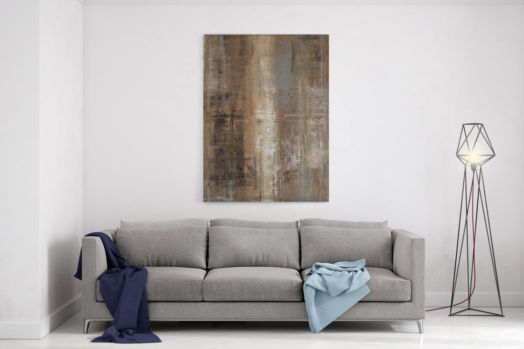 Brown And Grey Abstract Art Painting Canvas Wall Art Print