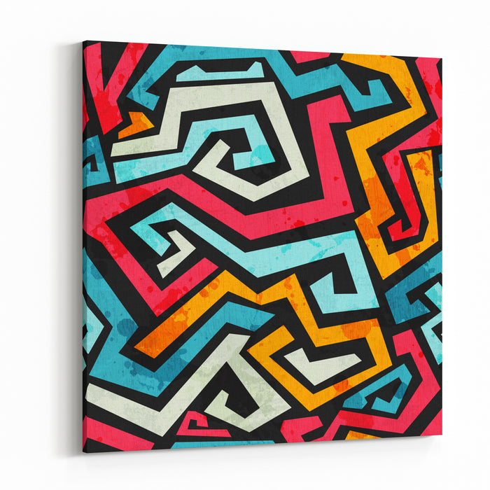 Bright Graffiti Seamless Pattern With Grunge Effect Canvas Wall Art Print
