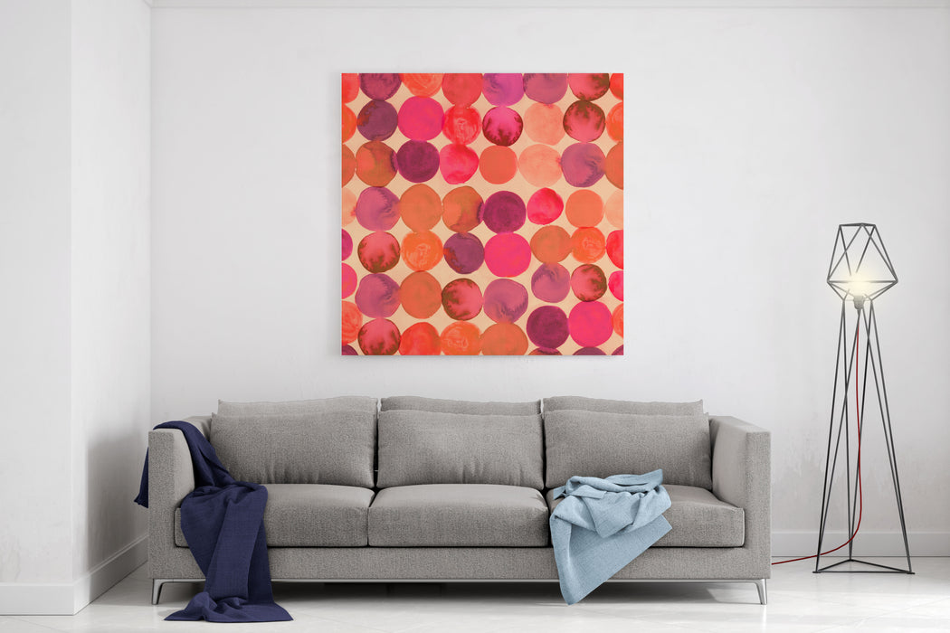 Abstract Watercolored Geometric Circles Seamless Background Canvas Wall Art Print