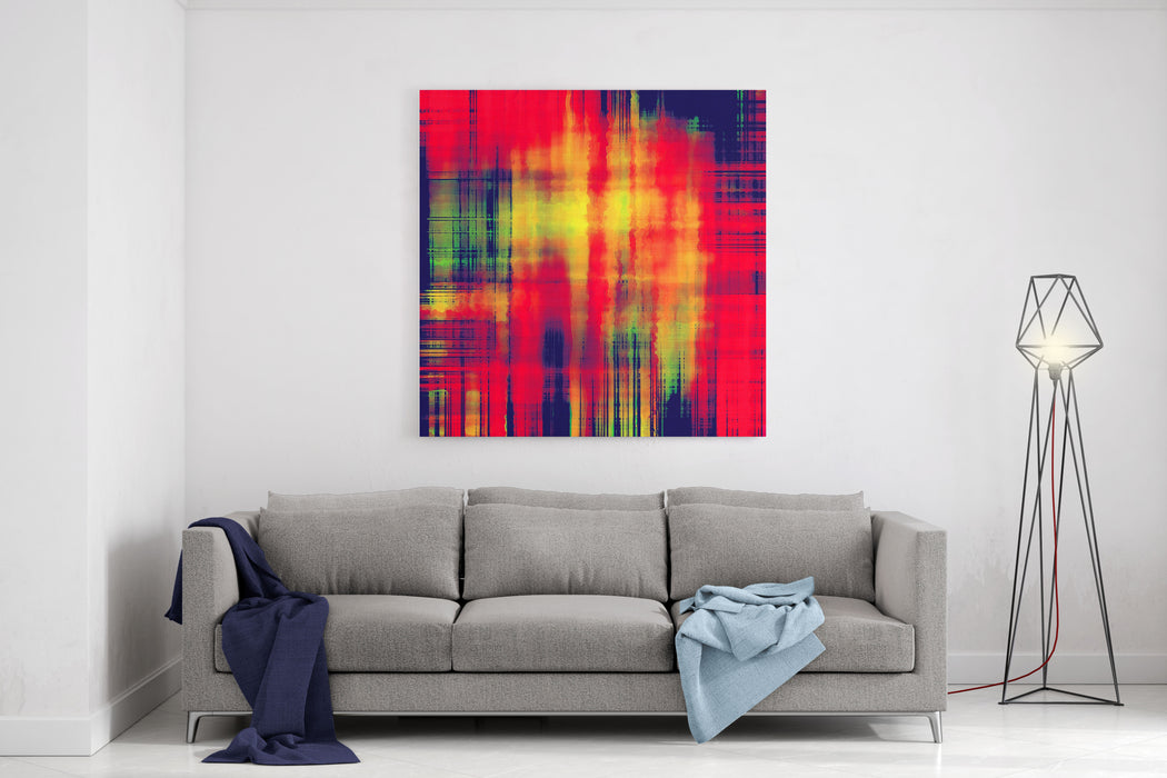 Art Abstract Geometric Pattern, Watercolor Blurred Stripes Background In Bright Coral Red, Gold, Blue Black And Green Colors Canvas Wall Art Print
