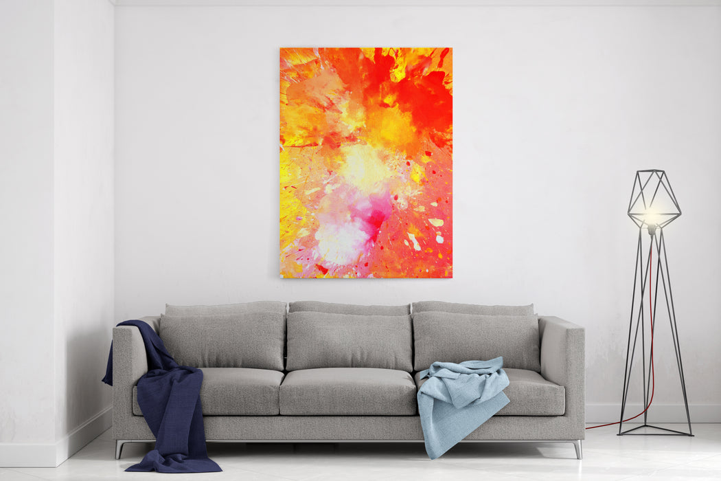 Pink, Yellow And Orange Abstract Art Painting Canvas Wall Art Print