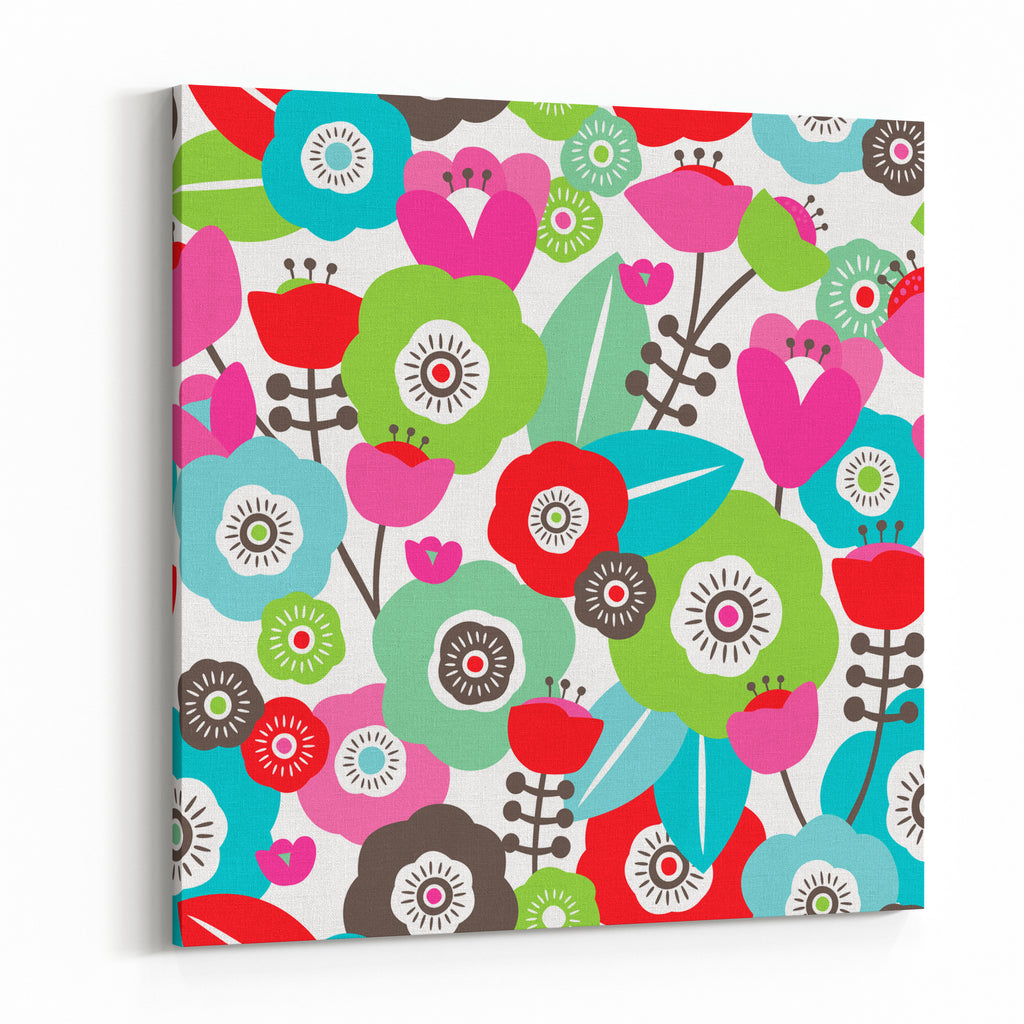 Seamless Colorful Spring Flowers Illustration Floral Background