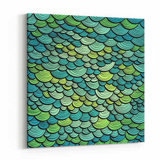 Abstract Green Marine Background Imitating Fish Scales Raster Version Of The Vector Image Canvas Wall Art Print