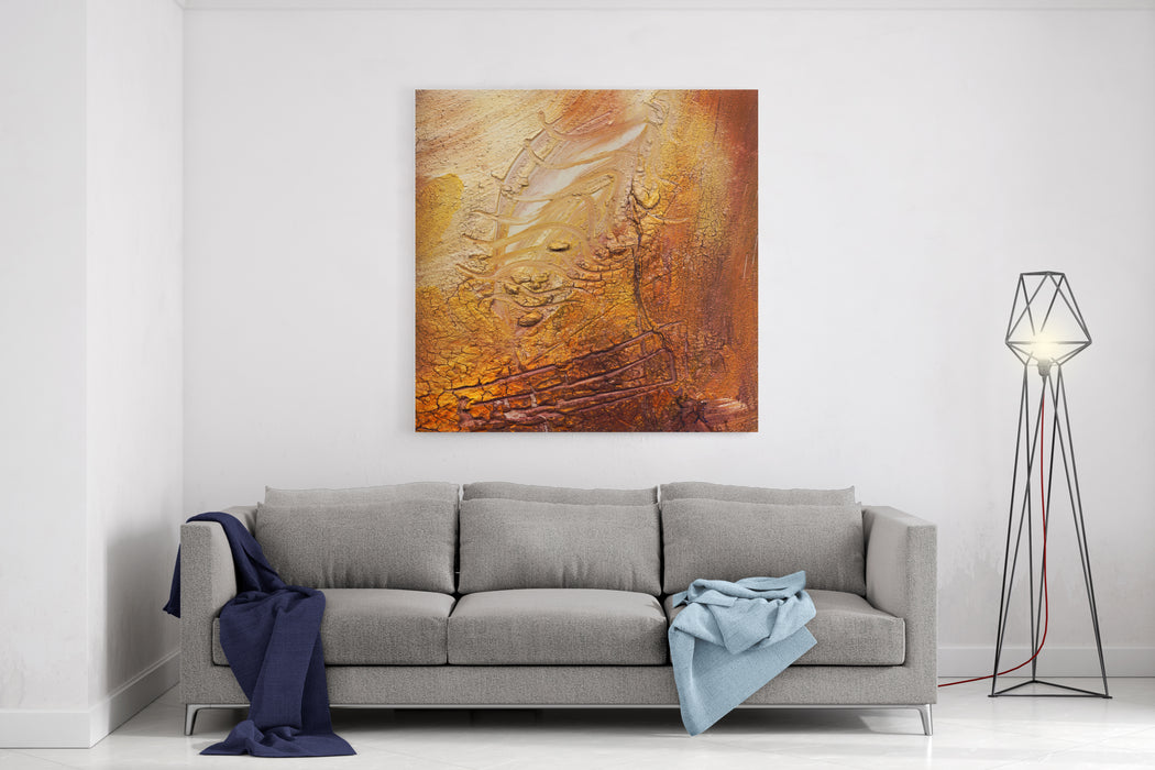 Abstract Impasto Cracked Painting  Acrylic Und Oil Paints Mixed Media Grunge Canvas Wall Art Print