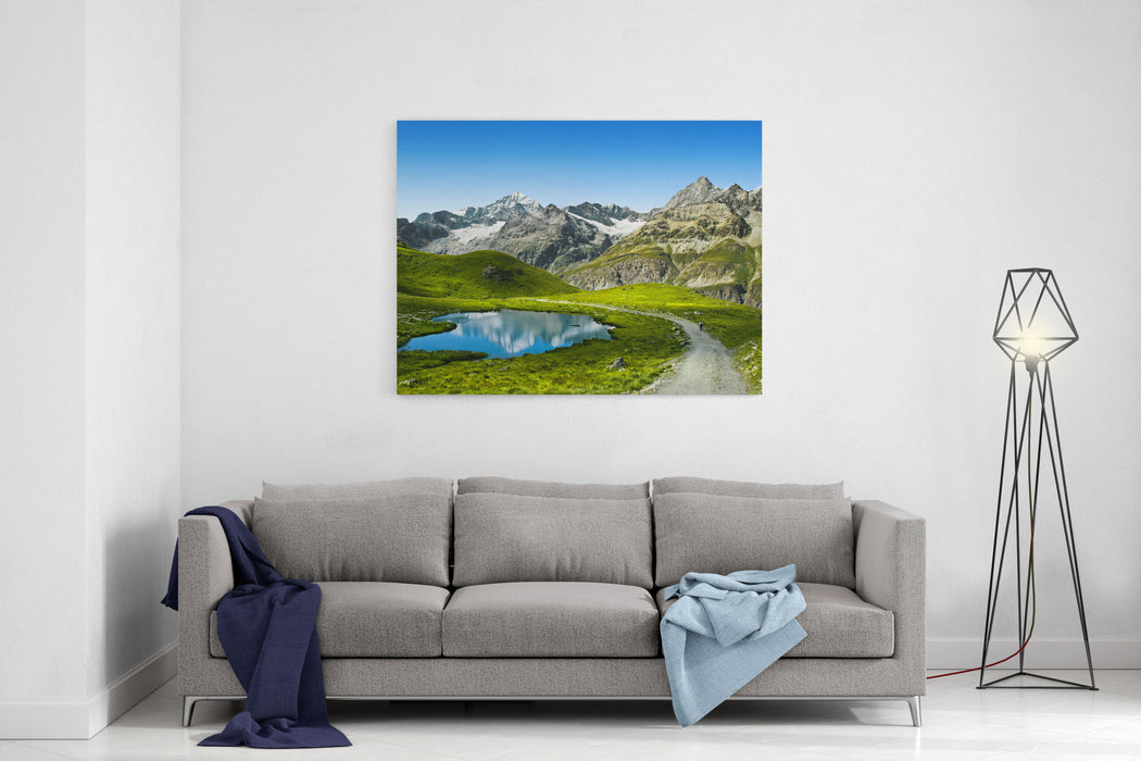 Amazing View Of Touristic Trail Near The Matterhorn In The Swiss Alps Canvas Wall Art Print
