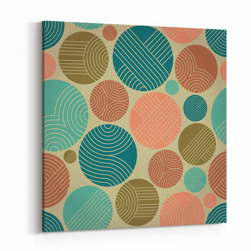 Seamless Geometrical Ornament With Striped Circles Canvas Wall Art Print