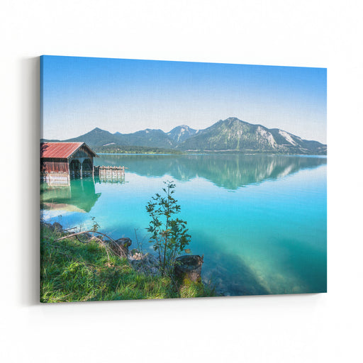 Old Fishing Hut At The Walchensee In Germany Canvas Wall Art Print