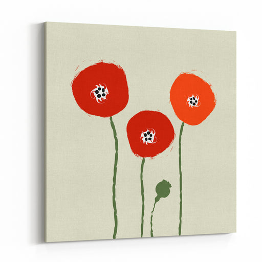 Abstract Poppies Vector Canvas Wall Art Print