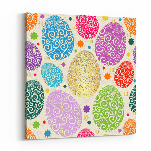 Easter Seamless Pattern With Colorful Painted Eggs Laced Vector Canvas Wall Art Print
