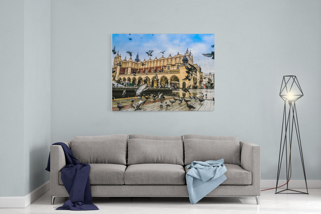 A Lot Of Doves In Krakow Old City Market Square Poland Canvas Wall Art Print