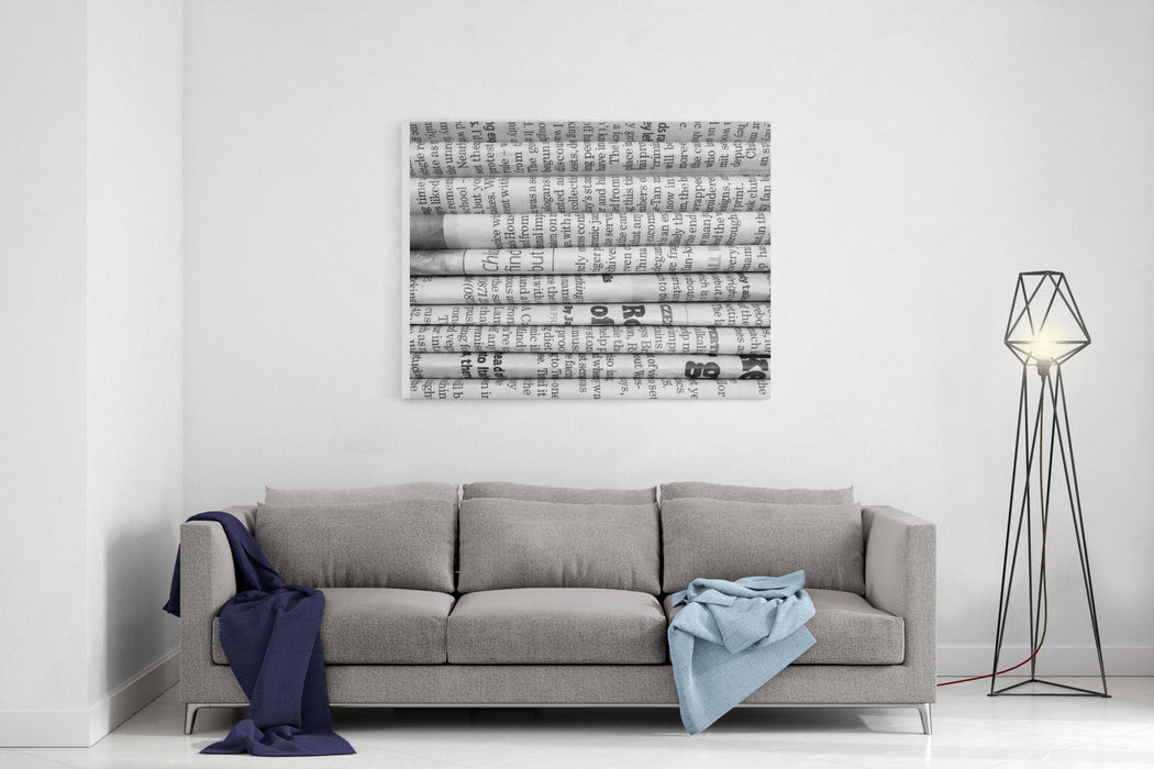 A Black And White Background Of English Language Newspapers Stacked And Folded In A Horizontal Position And Viewed In Close Up Canvas Wall Art Print