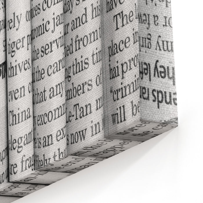 A Black And White Background Of English Language Newspapers Stacked And Folded In A Vertical Position And Viewed In Close Up Canvas Wall Art Print