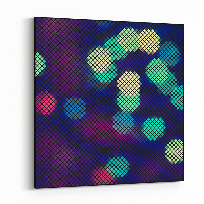Colorful Blue And Purple Abstract Lights Disco Mosaic On Black Background, Vector Canvas Wall Art Print