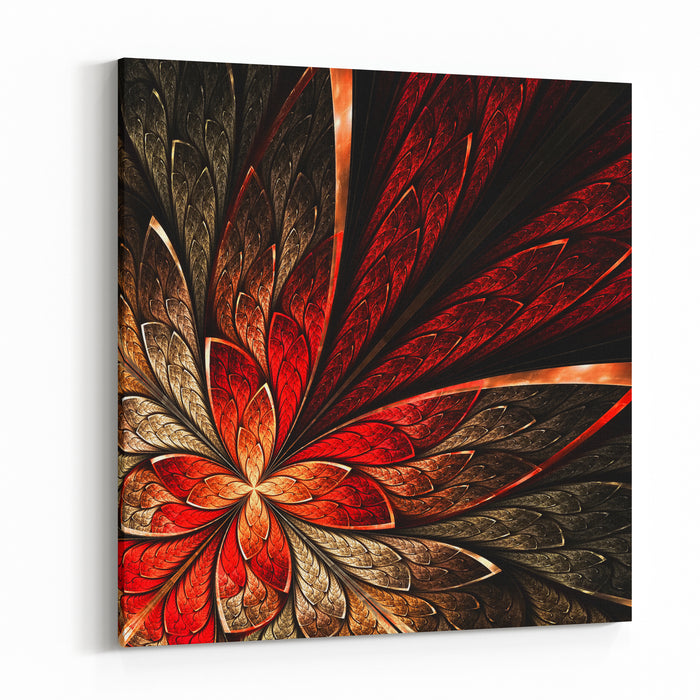 Beautiful Fractal Flower In Yellow And Red Computer Generated Graphics Canvas Wall Art Print