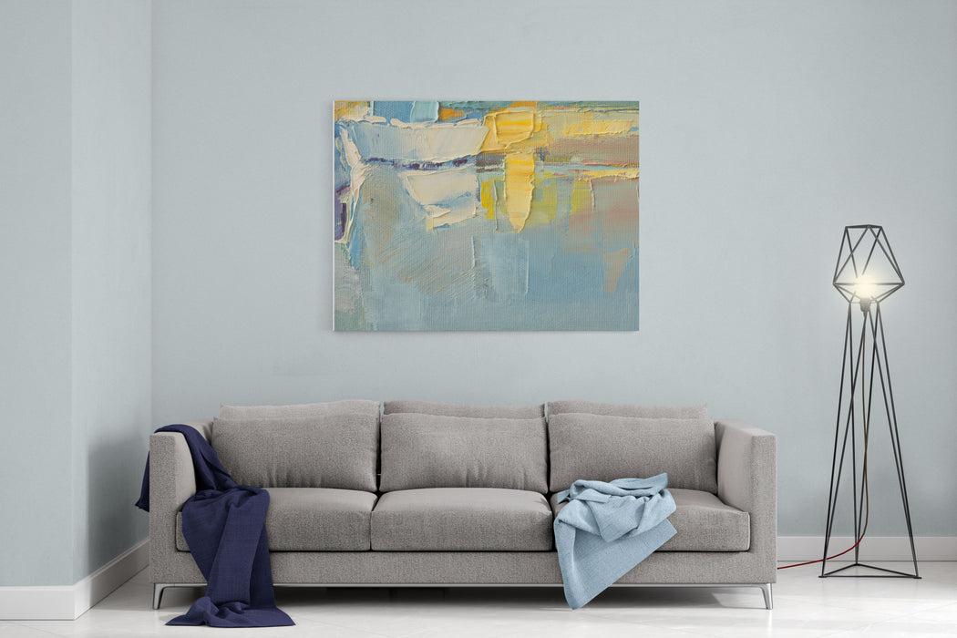 Abstract Wallpaper Of Oil Painting With Brush Strokes In Cool Colors Canvas Wall Art Print