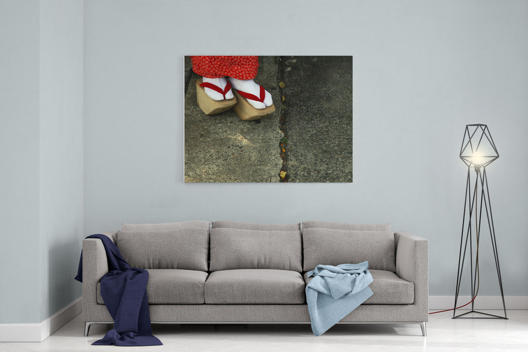 Wooden Shoes Of Japanese Geisha Canvas Wall Art Print