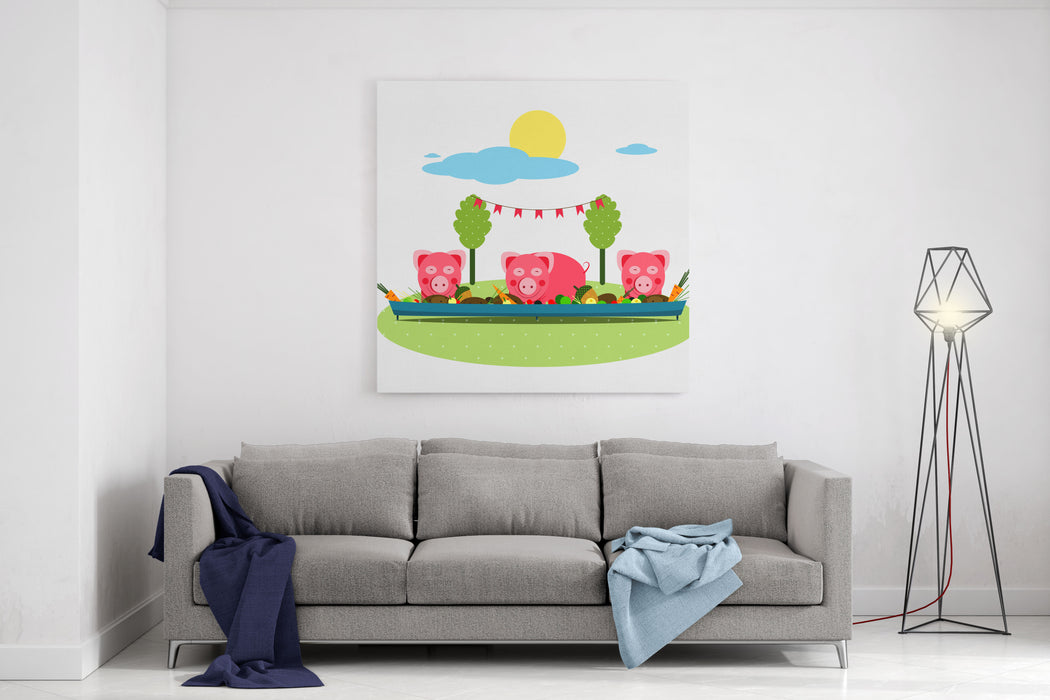 Pigs Eating Food At Farm Funny Small Pigs Having Party Vector Illustration EPS No Effects Canvas Wall Art Print