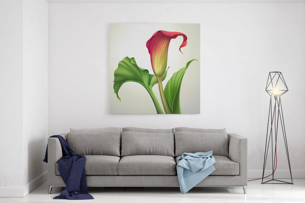Creative Illustration Of Calla Lily Flower With Green Leaves Isolated On White Background Canvas Wall Art Print