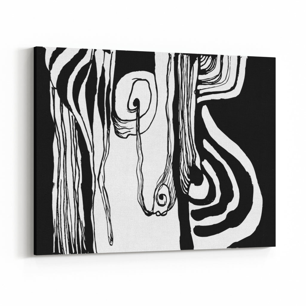 Simple Abstract Black And White Drawing Painted With Ink Canvas Wall Art Print