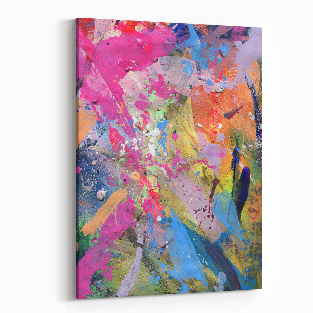 Abstract Painting Background With Expressive Bright Brush Strokes Canvas Wall Art Print