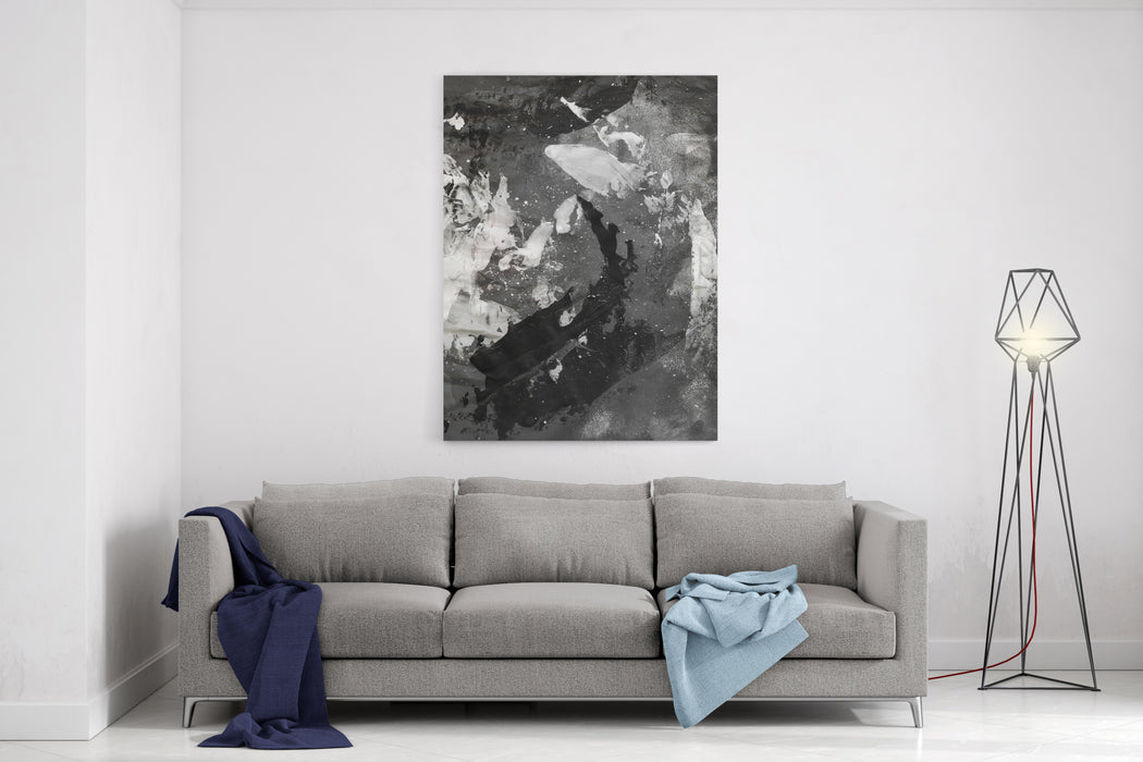 Abstract Black And White Ink Painting On Grunge Paper Texture  Artistic Stylish Background Canvas Wall Art Print