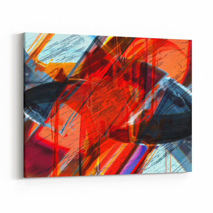 Art Abstract Graphic Aggressive Grunge Background Canvas Wall Art Print