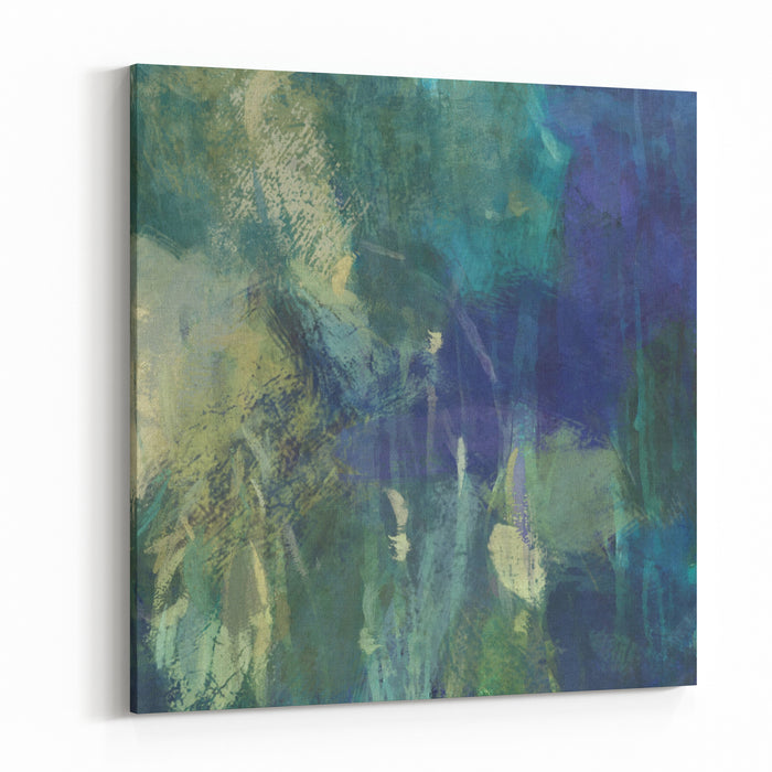 Art Abstract Painted Background With Green, And Blue Blots Canvas Wall Art Print
