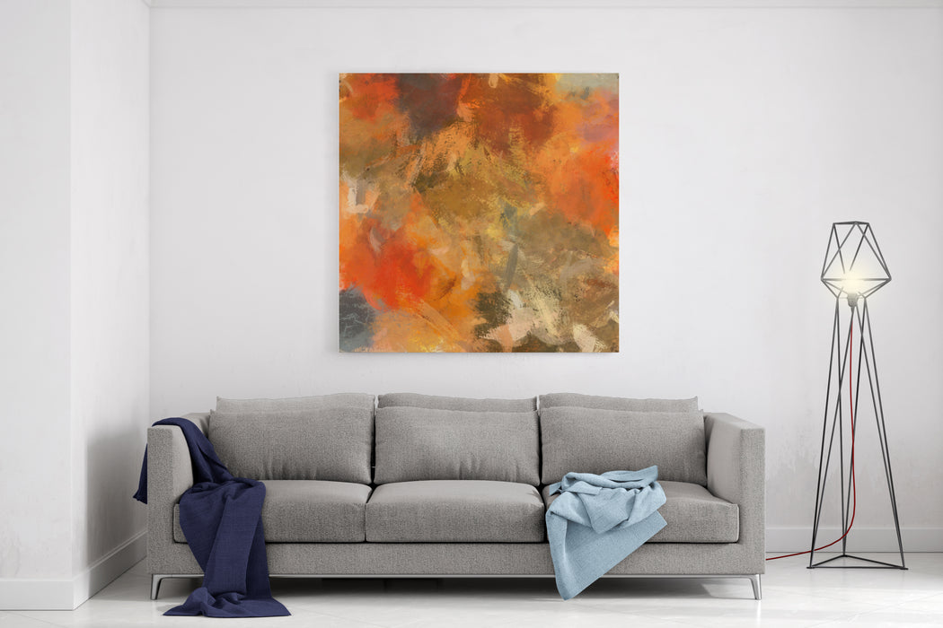 Art Abstract Acrylic Painted Autumn Background With Orange, Old Gold, Brown, Red And Grey Blots Canvas Wall Art Print