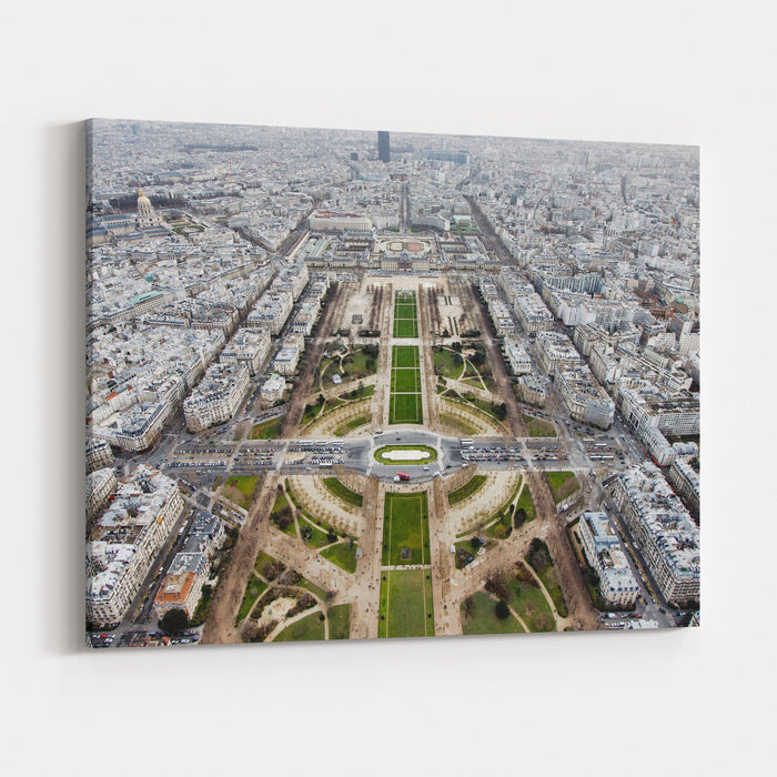 View From The Eiffel Tower, Down The Champs De Mars, Paris France Canvas Wall Art Print