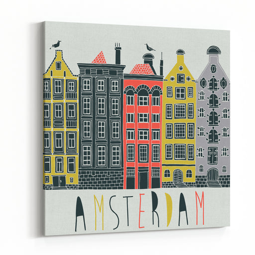 Amsterdam Canal Houses Canvas Wall Art Print