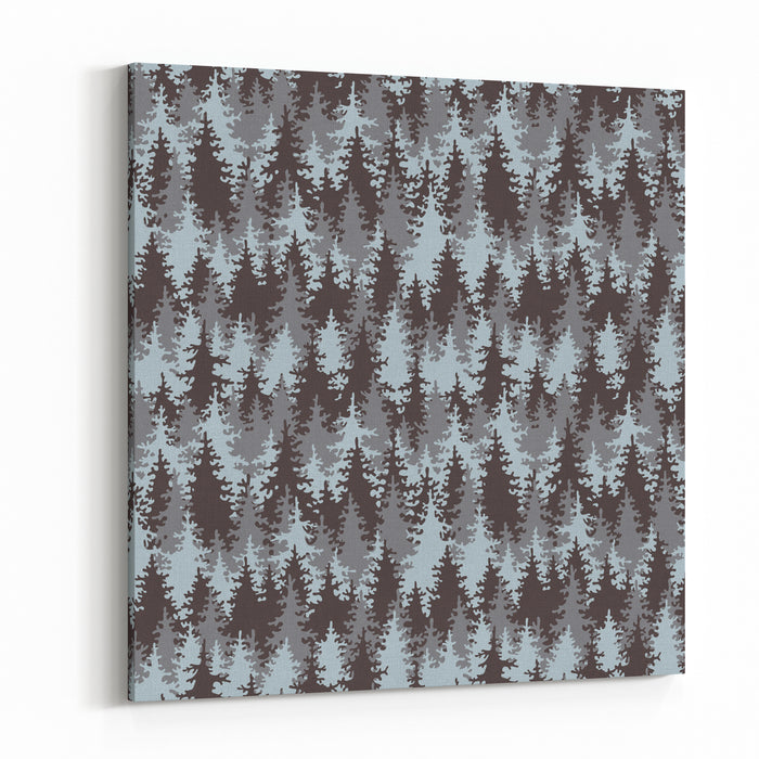 Illustration Coniferous Forest Seamless Pattern Canvas Wall Art Print