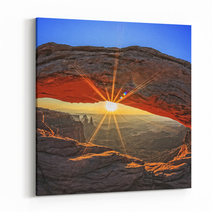 Famous Sunrise At Mesa Arch In Canyonlands National Park, Utah, USA Canvas Wall Art Print