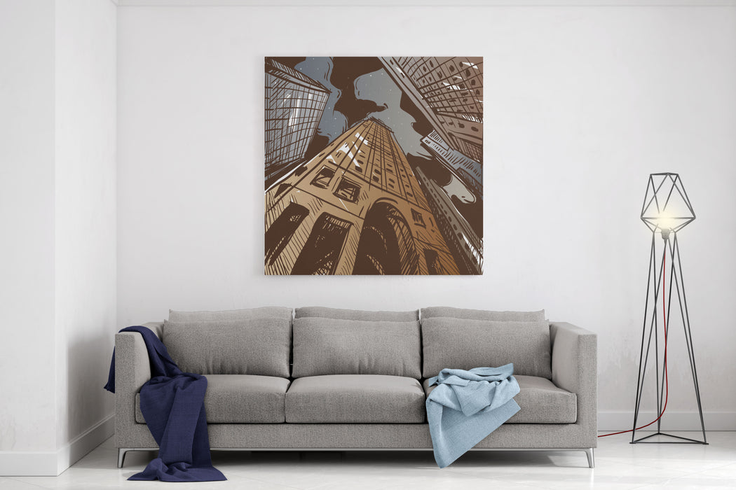 City Hand Drawn Vector Illustration Canvas Wall Art Print