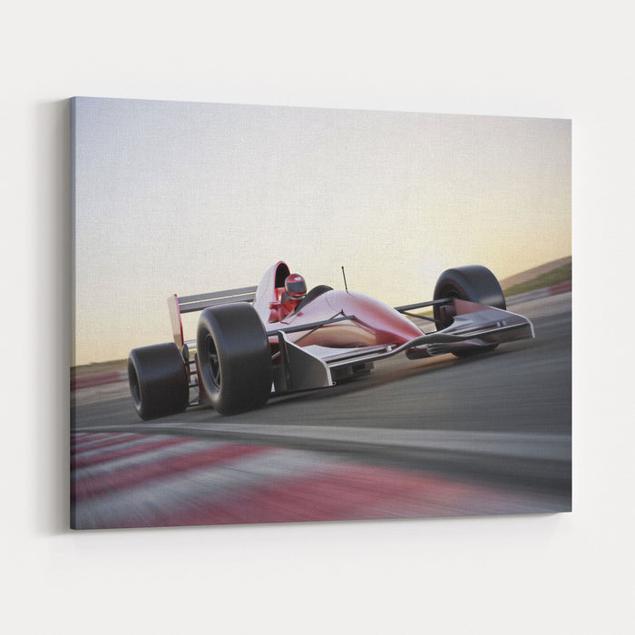 Race Car Racing On A Track With Motion Blur Canvas Wall Art Print