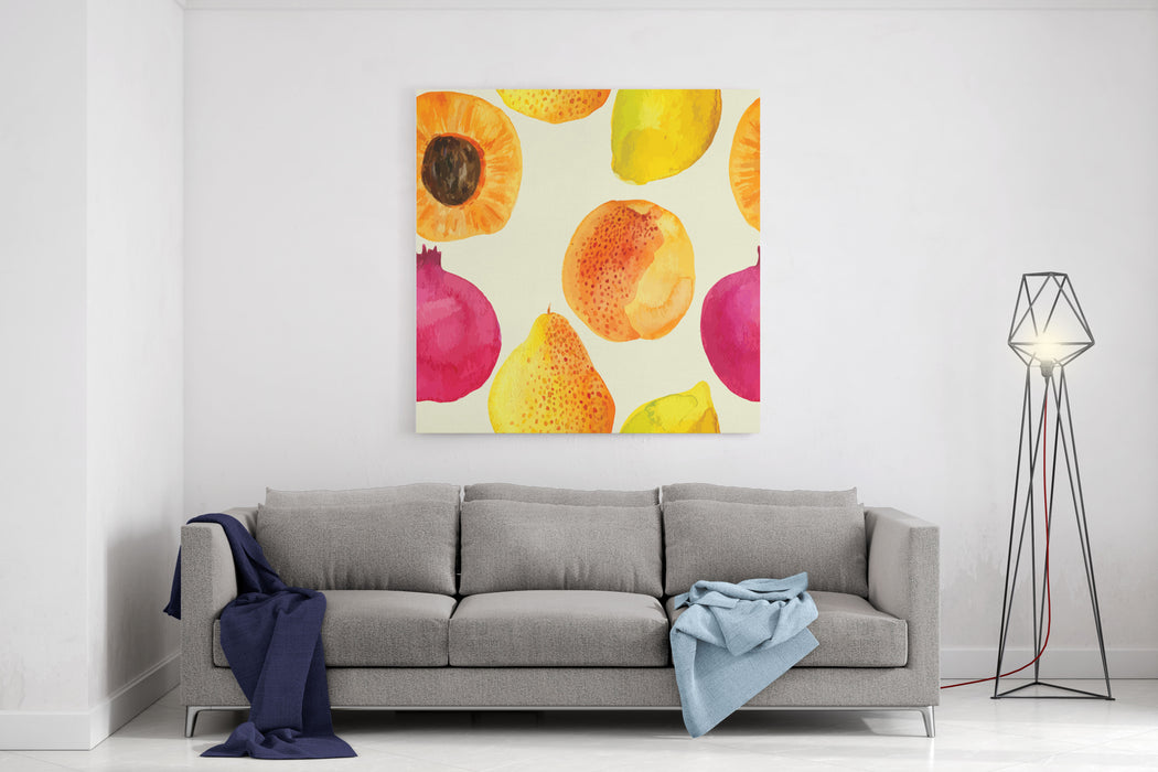 Colorful  Watercolor Vector Fresh Fruits Pattern Design Canvas Wall Art Print