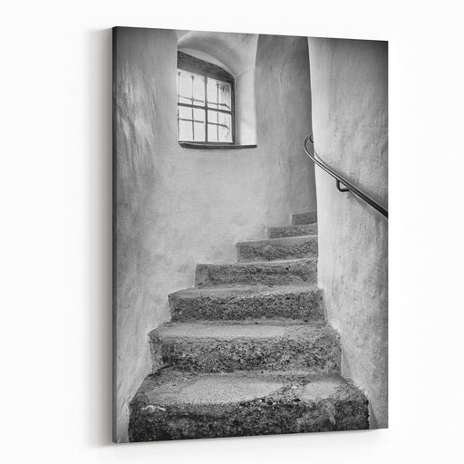 Old Staircase At A Historic Building Canvas Wall Art Print
