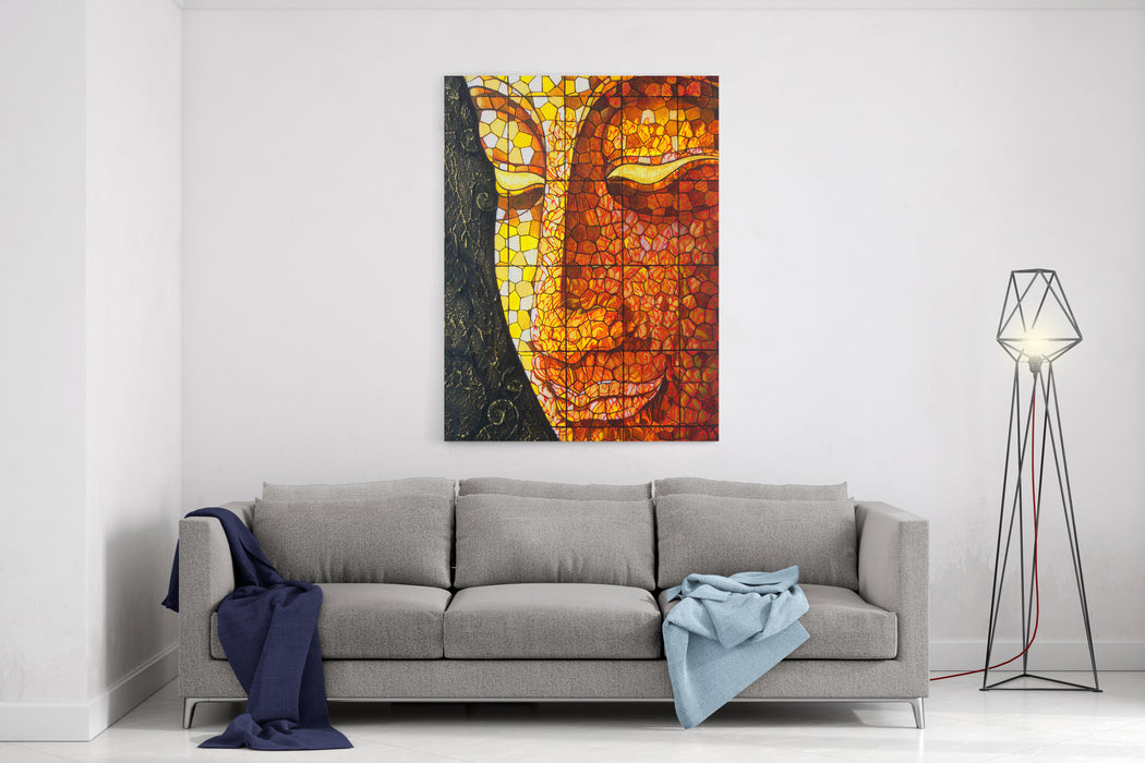 Art Buddha Stained Glass Acrylic Color Painting On Canvas Canvas Wall Art Print
