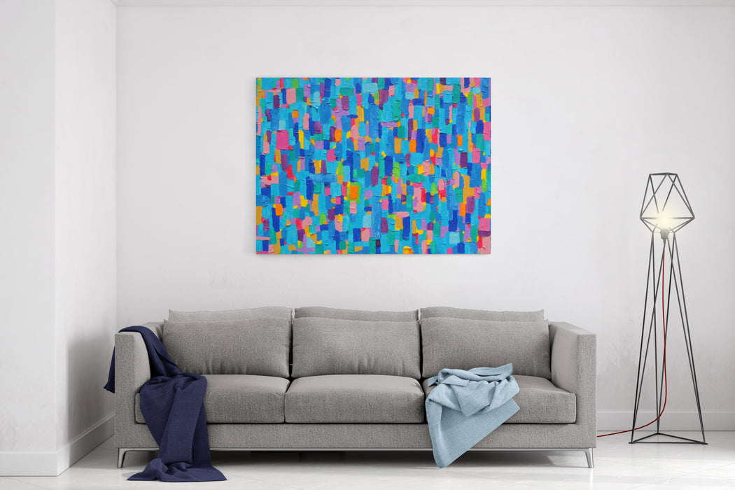 Blue Land  Texture, Background And Colorful Image Of An Original Abstract Painting On Canvas Canvas Wall Art Print