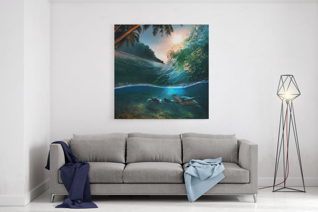 Tropical Paradise Template With Sunlight Ocean Surfing Wave Breaking And Two Big Green Turtles Diving Underwater Canvas Wall Art Print